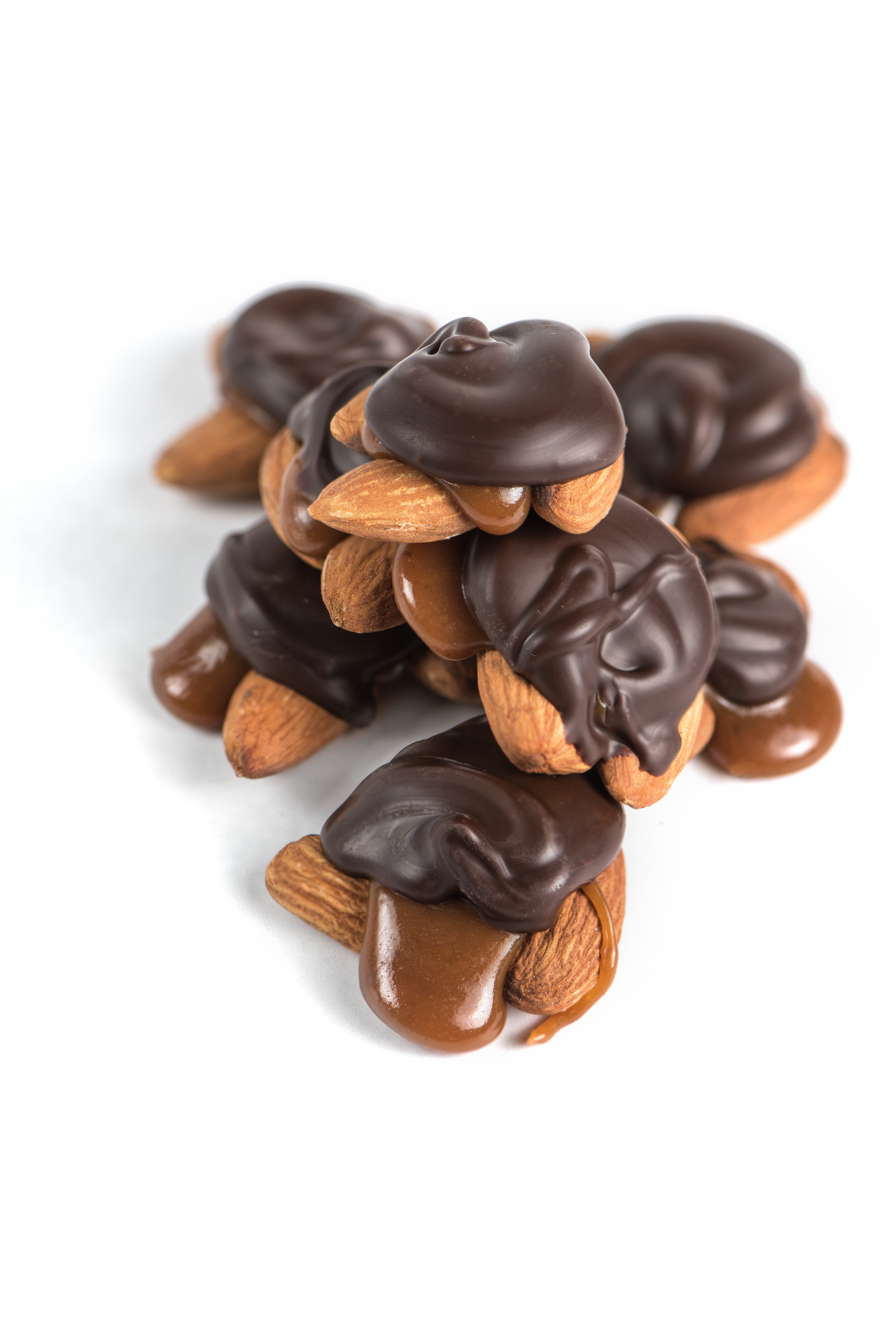 Sweet chocolate turtles with almonds and salted caramel.